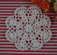 Wholesale Free Crochet Placemats - Free shipping Crochet Placemats cup mat, White Ecru Doily ,cup pad,coaster ,crochet applique 12CM, 30Pcs Lot
