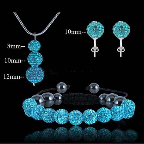 Neue Art und Weise 925 Silber Schmuck Sparkly 3Pcs Disco Kugel Anhänger Shamballa Halskette + Armband + Stud Set beste Geschenk