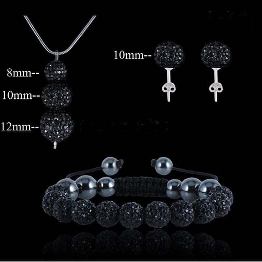Neue Art und Weise 925 Silber Schmuck Sparkly Disco Kugel Anhänger Shamballa Halskette + Armband + Stud Set beste Geschenk