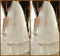 Wholesale Veil Short Lace Comb - Free Shipping Cheapest 2015 Tulle Lace Bottom Appliques Bridal Veils Finger Length 39 Inch Two Tiers Short White Veil with Comb YV-9