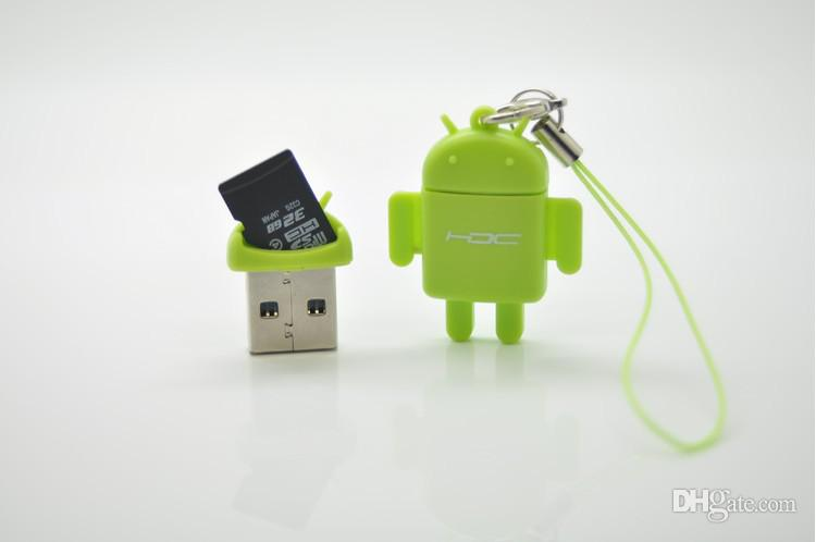 Lector de tarjetas USB Android Robot Doll Teléfono móvil colgante Micro SD Card Reader Colorido de alta calidad de la manera