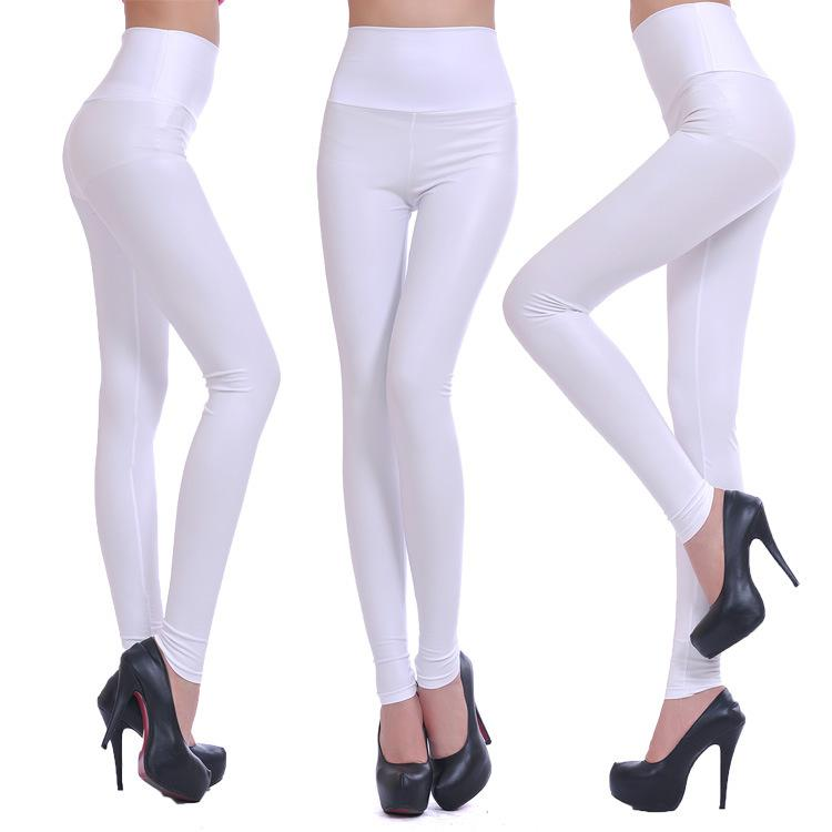 2017 Faux Leather Legging High Waist White Pants Brief Tight ...