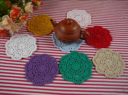 $enCountryForm.capitalKeyWord Canada - Free shipping Hand White Crochet Doily Vintage Round Crocheted Doilies 10x10cm Cup Mat Placemats 20PCS LOT