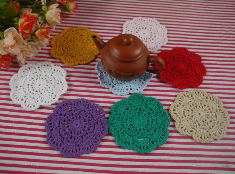 Free shipping Hand White Crochet Doily Vintage Round Crocheted Doilies 10x10cm Cup Mat Placemats 20PCS/LOT