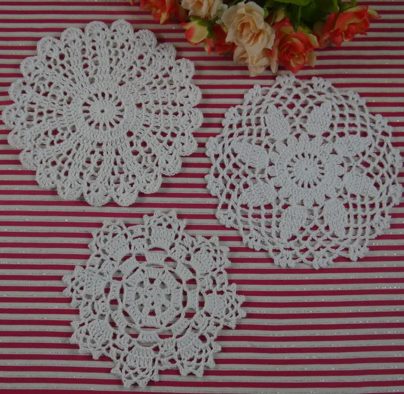 Free Shipping 30Piece crochet doilies fabric table lace placemats coasters kitchen accessories Dial 14-16cm Custom Colors-