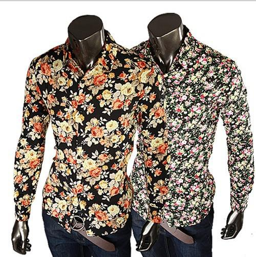 2017 2015 Fashion Mens Shirts Floral Shirts Slim Fit Stylish Dress ...