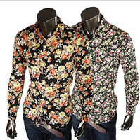 Wholesale Mens Stylish Slim Dress Shirts - 2017 New Fashion Mens Shirts Floral Shirts Slim Fit Stylish Dress Shirt Casual Slim Fit Stylish 5 Colors size:M-XXL 315
