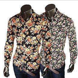 Wholesale Dress Shirts Xxl - 2017 New Fashion Mens Shirts Floral Shirts Slim Fit Stylish Dress Shirt Casual Slim Fit Stylish 5 Colors size:M-XXL 315