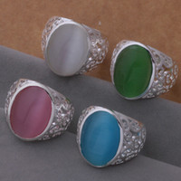 Wholesale Mixed Order Rings For Women - Mixed Orders Top quality 925 silver opal ring fashion classic jewelry for women free shipping 12pcs lot Christmas gift