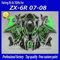 satılık zx kaplama toptan satış-Sıcak satış yeşil alev siyah marangozluk kiti Kawasaki Ninja 2007 2008 ZX-6R ZX6R 07 08 636 ZX 6R plastik motosiklet kaporta fy6