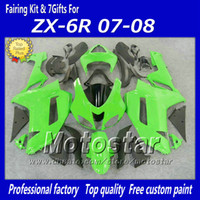 Wholesale ninja kawasaki body plastics - Popular ZX-6R 2007 2008 green black fairings body kit for Kawasaki Ninja 636 ZX6R 07 08 ZX 6R ABS plastic fairing set fy9
