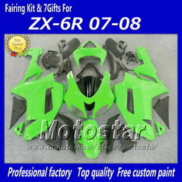 Wholesale Kawasaki Zx6r Fairings Black Green - 7 Gifts popular ZX-6R 2007 2008 green black fairings body kit for Kawasaki Ninja 636 ZX6R 07 08 ZX 6R ABS plastic fairing set fy9