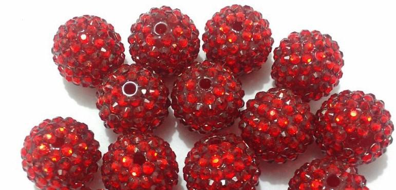 20mm dia. harts rhinestone pärlor för barn chucky halsband och armband mode smycken diym