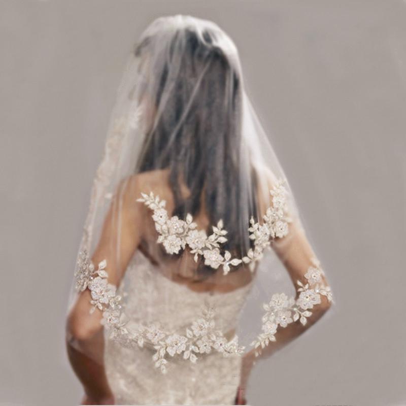 2015 nueva alta calidad longitud del codo encaje velos de novia perlas bordado 31 pulgadas dos niveles cara de tul corto velo de novia con peine YV-13