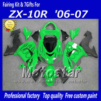 Wholesale Kawasaki Ninja Fairings For Sale - 7 Gifts hot sale black flame in green aftermarket parts Ninja ZX-10R 06 07 fairings kit for Kawasaki ZX10R 2006 ZX 10R 2007 bodykits sq15