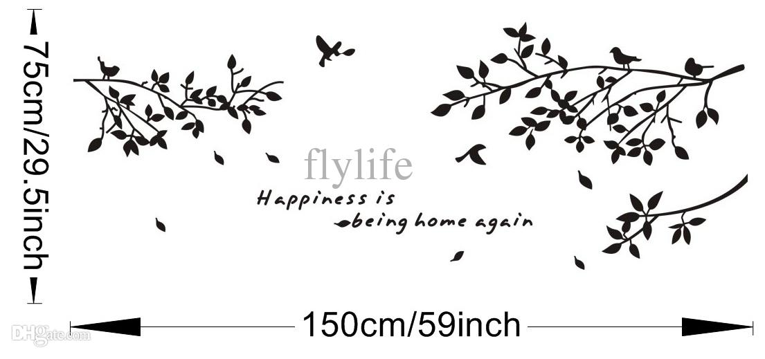 Happiness Is Being Home Again-Vinyl Quotes Wall Stickers and Black Tree Branch with Birds Art Decor Decals for Home, Living Room