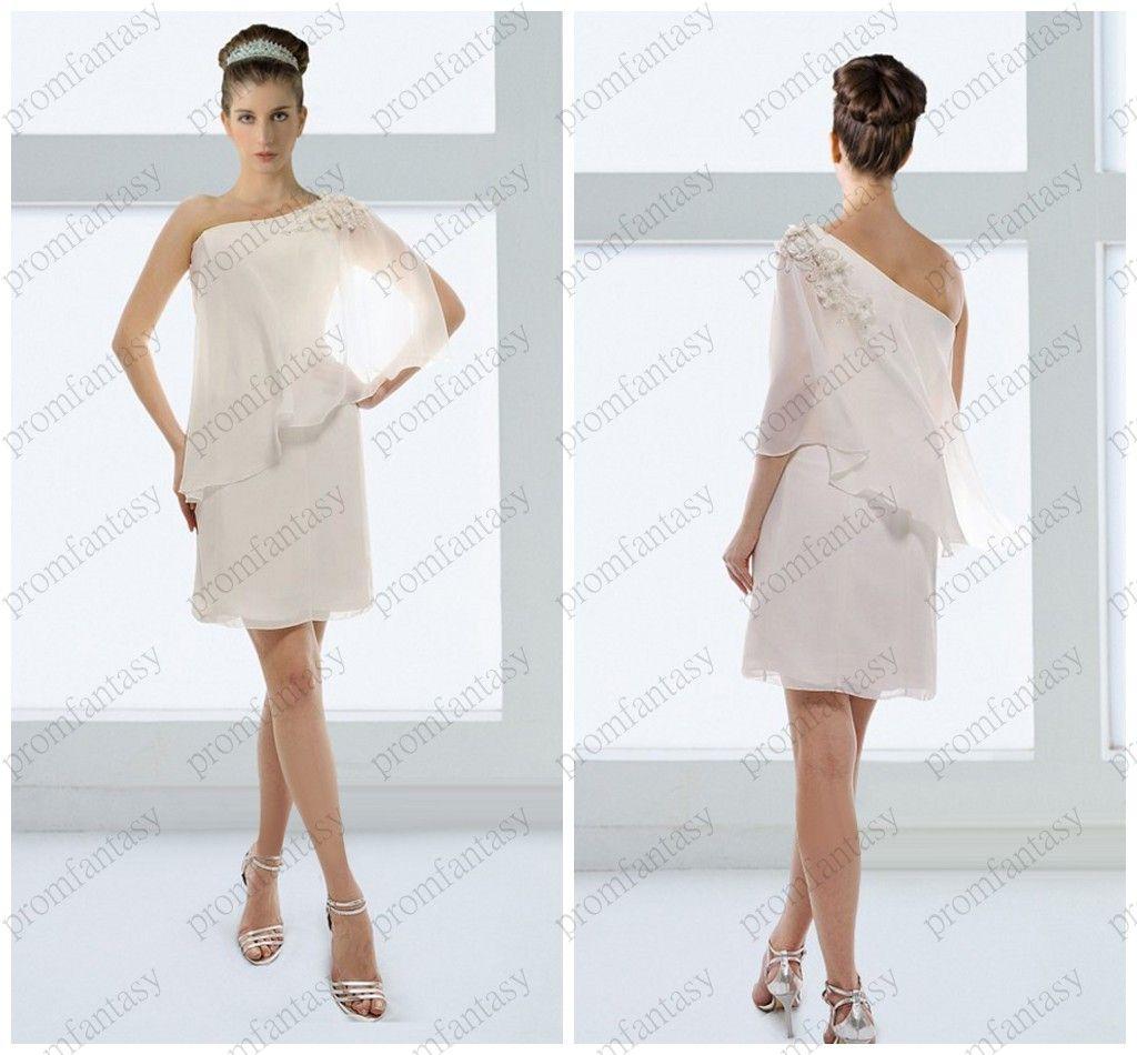 2014 One Shoulder Fashion Short Sheath Wrap Beach Wedding Dresses Floral Mini Informal Bridal Gowns Destination Cheap Simple Dress Ideas