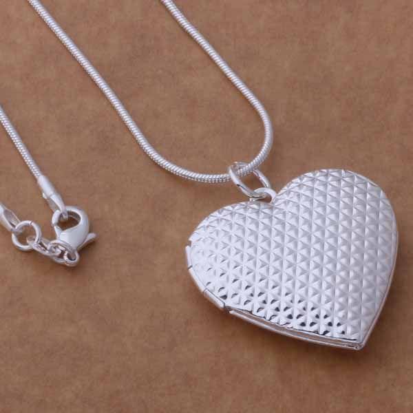 Ordre mélangé / 925 plaqué argent coeur pendentif collier de mode bijoux cadeau Saint Valentin Livraison gratuite /
