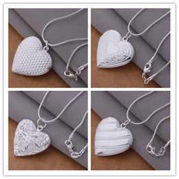 Wholesale American Fashion Necklace - Mixed Order 20pcs lot 925 silver plated heart pendant necklace fashion jewelry Valentine's Day gift Free shipping 20pcs lot