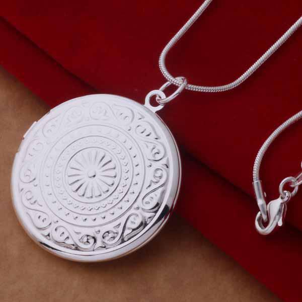 Qualität 925 Silber überzogene runde Rahmen hängende Halskettenart und weise klassische Schmuckmischungen geben Verschiffen / frei