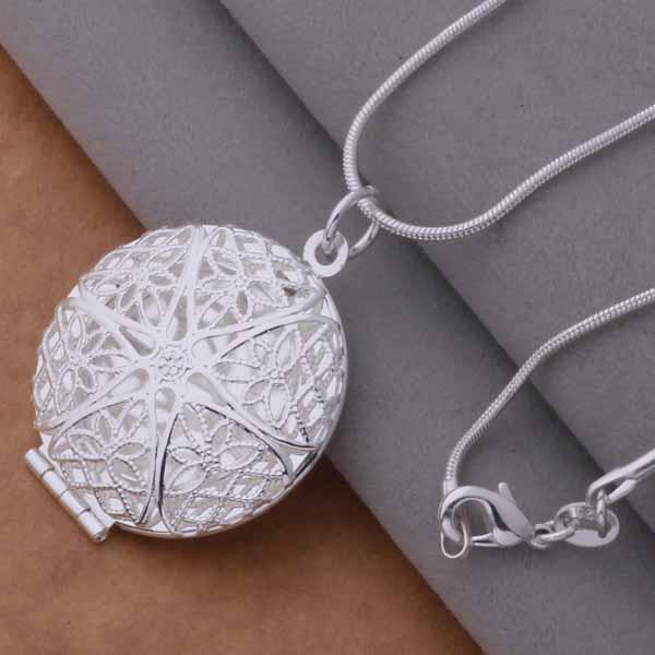 La alta calidad 925 plateó los marcos redondos colgantes de la joyería clásica de la manera de las órdenes mezcladas del collar el envío libre /