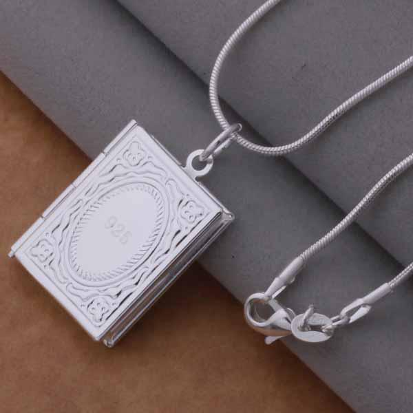Fashion Jewelry 925 Silver Square Frame Pendant Necklace Top quality Christmas gift