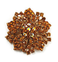 Wholesale Antique Brooch Pearls - Vintage Antique Gold Plated Brown Rhinestone Crystal Diamante Flower Brooch Bouquet