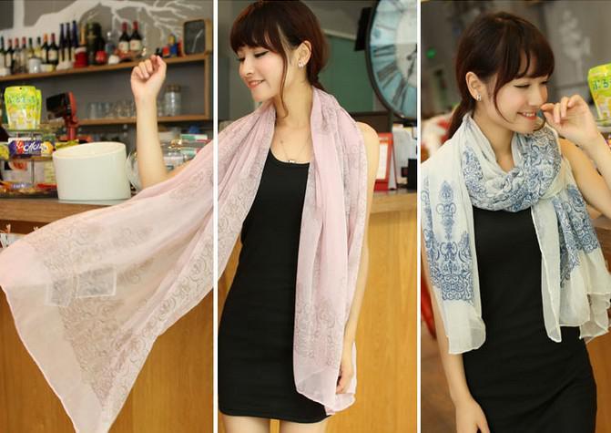 Yeni Kore Tasarım Uzun Eşarp Moda Kadınlar Eşarp Bahar Sonbahar Şifon Porselen Baskı Scaves Sarar Hediyeler