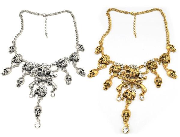 Новое Прибытие Европейский Старинные Золото / Серебро Металл Прохладный Ясно Горный Хрусталь Череп Кулон Ожерелье
