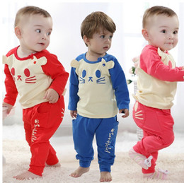 Wholesale Animal Pajama Suits - Retail Children Cartoon Cat Long Sleeve T-Shirt Top+Trousers Pants 2Pcs Set Baby Boys Girls Leisure Sport Suit Kids Pajama Homewear Outfit