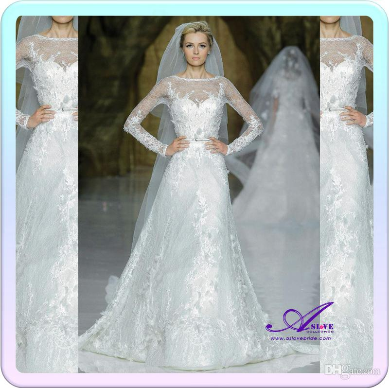 Discount 2014 latest designer elie saab a line scoop long for Aolisha wedding dress price