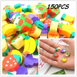 Wholesale Kids Novelty Pencils - 150x Novelty Fruit Pencil Rubber Eraser Erasers Stationery Kid Students Gift Toy Colorful