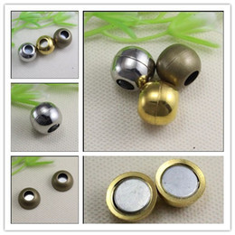 Wholesale End Cap For Bracelets - 30PCS Strong Smooth Round   Ball Magnetic Clasps + End Caps with Inner hole 6mm for making Leather Bracelet jewelry findings