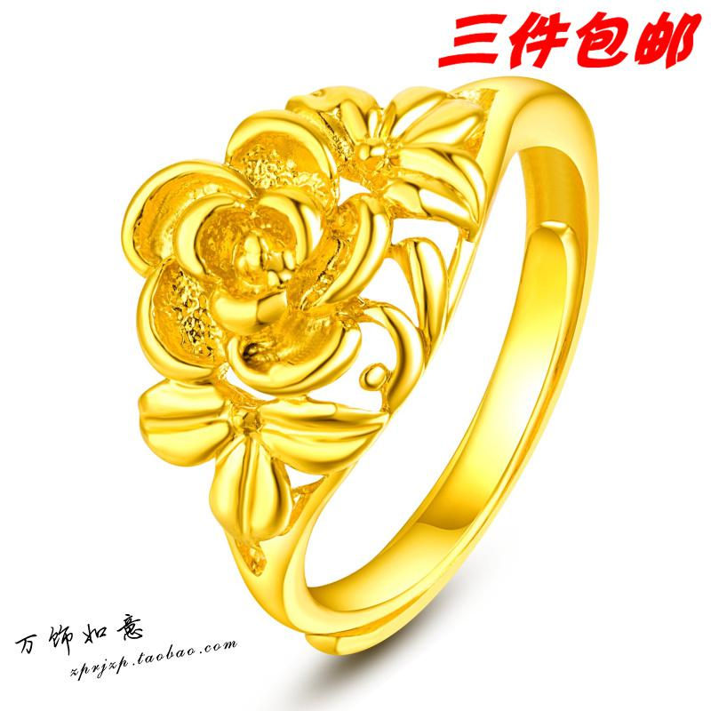 Tanabata Gift Plated 24k Gold Ring Bride Wedding Rings Roses