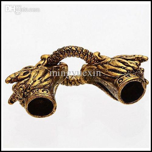 Внутренний диаметр 6 мм античный золотой сплав Дракон глава замок Весна застежки + End Cap для кожаный браслет ювелирных изделий