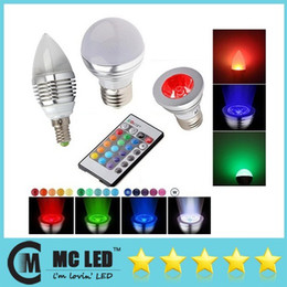 Wholesale E12 Mr16 - E27 E26 E14 MR16 GU10 3W Led RGB Spot Bulbs 16 Colors Changing RGB Led Candle Lights Led Globe Lamp 110-240V + Remote Control