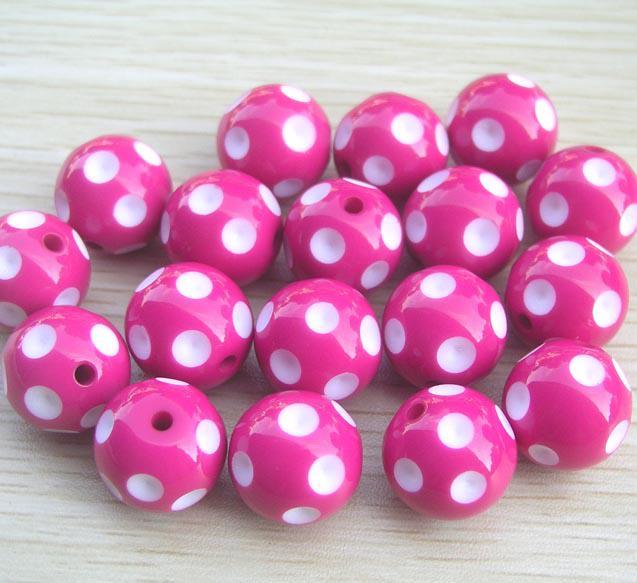 / parti 20mm mix färg runda akryl polka dot pärlor för chunky halsband barn smycken fynd