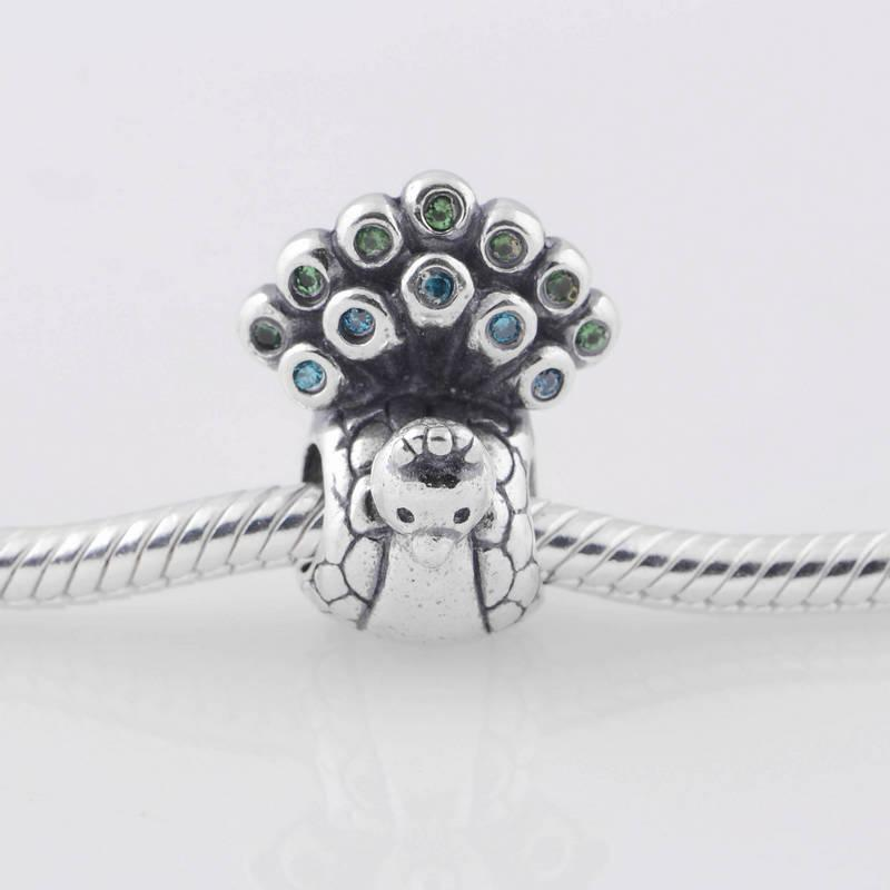 S925 Stämplat Sterling Silver Peacock Bead With Green And Aqua Zirconia Passar European Style Smycken Armband Halsband Pendants
