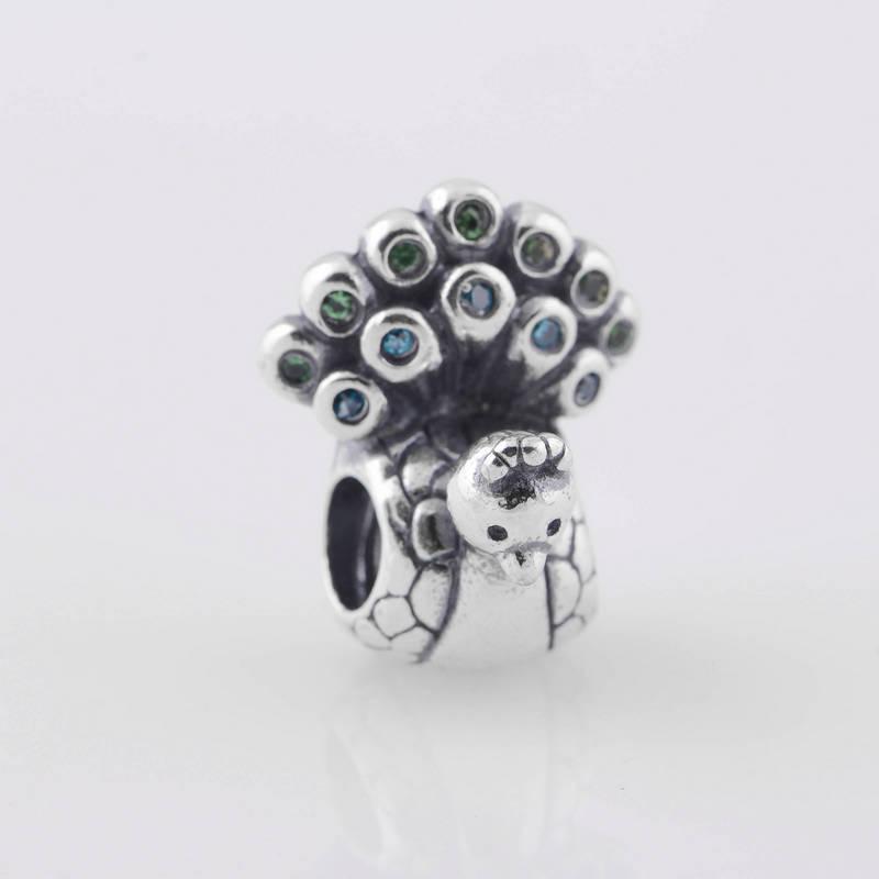 S925焼き付け銀銀孔雀ビーズ緑とアクアジルコニアフィットヨーロッパスタイルのジュエリーブレスレットネックレスペンダント