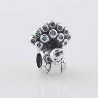 silberne aqua halskette großhandel-S925 gestempelt Sterling Silber Peacock Bead mit Grün und Aqua Zirkonia passt europäischen Stil Schmuck Armbänder Halsketten Anhänger