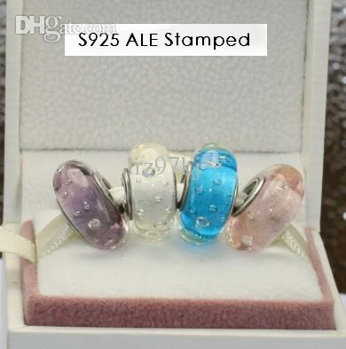 4 unids S925 Tornillo de Plata Esterlina Core Blossom Murano Glass Beads Charm Jewelry Set Fit Estilo Europeo Joyería Pulsera EN037