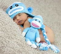 Wholesale Handmade Baby Crochet Sock Monkey - Crochet Sock Monkey Hat baby cotton hat handmade sock monkey hats baby girl Beanies Crochet Earflap baby animal knitted hats free shipping