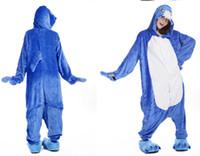 mono animal adulto al por mayor-Animal Blue Shark Unisex Adulto Franela Onesies Pijamas Kigurumi Mono Sudaderas Ropa de dormir Cosplay para adultos (no incluye zapatillas)