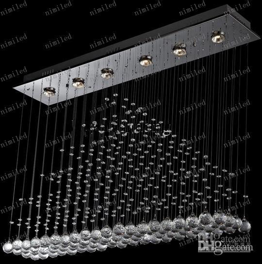 LLFA73 L100cm * W20cm * H80cm Evrosvet Contemporain 6-Lumières Rectangulaire Pyramide Cristal Lustre Pendentif Lampe Éclairage