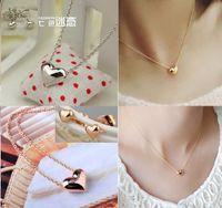 Min OL heart necklace earrings jewelry set, 18k gold plated r...