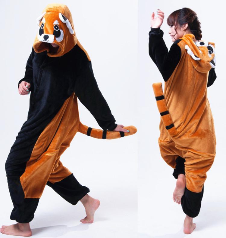 Cartoon Animal Raccoon Unisex Adult Flannel Onesies Kigurumi Jumpsuit Hooded Nightwear Cosplay Costume For Adults With Back Zip for Toilet