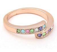 Wholesale Swarovski Rings Rose Gold - Fashion Brand 18K Rose Gold Ring Women's Jewelry Crystal Ring make with Swarovski Elements (5 colors) 4466