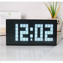 Wholesale Electronic Calendar Alarm - Modern Design Big Font Cuboid Plastic Shell Led Alarm Clock Electronic Snooze Alarm Table Clock Office Colorful Desk Clock
