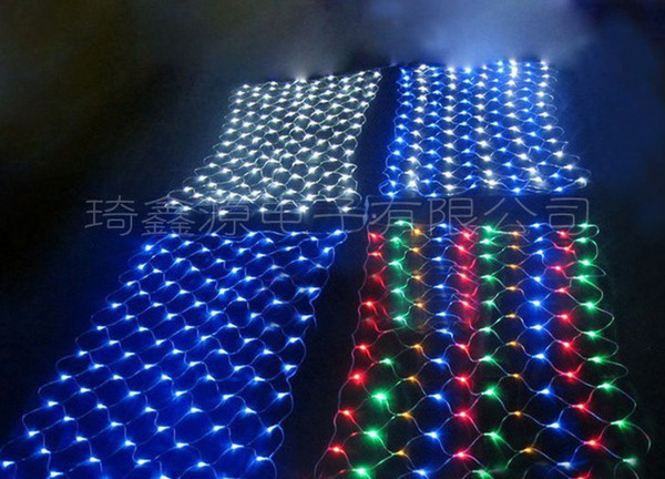 video show New arrival 100LED Fashion fairy christmas meshwork chandeliers LED nets lamps net lights 1.5M x 1.5M add tail Male Female plug