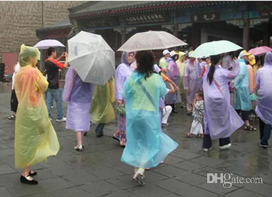 Wholesale & Disposable PE Raincoats Poncho Rainwear Travel Rain Coat Rain Wear gifts mixed colors